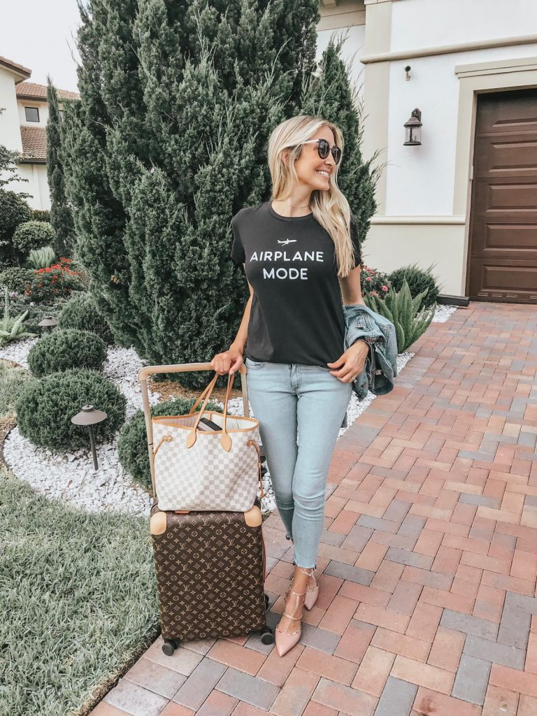 casually chic travel outfit ideas, airplane mode t-shirt